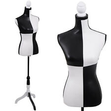 Pu Female Mannequin Torso Clothing Display W/Tripod Stand Black And White New