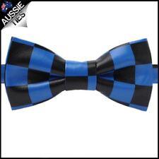 Black & Blue Check Bicast Leather Mens Bow Tie Men's
