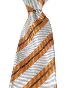 Designer Luxury Hand Woven 100% Pure Silk Tie Bronze Grey Brown Diagonal Stripes