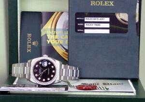 ROLEX DateJust White Gold & SS Black Diamond Dial 116244 SANT BLANC