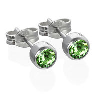 Paar Ohrstecker 925 Silber rhodiniert 4,50mm hellgrün Zirkonia Damen Herren 6577