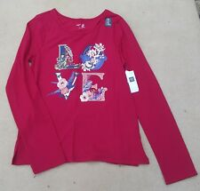 GAP KIDS Girls Red Ornate Floral Love Letters Long Sleeved T Shirt XXL 13 Years