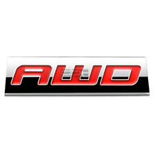 BUMPER STICKER METAL EMBLEM DECAL TRIM BADGE 3D POLISHED RED LETTERING AWD