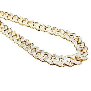 6.6 ct Ankh Mens Miami Cuban Link D/VVS1 Chain Necklace 10K Yellow Gold Over
