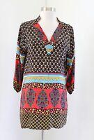Tolani Anthropologie Black Geometric Floral Print Silk Tunic Top Blouse Size XS