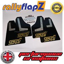 rallyflapZ SUBARU IMPREZA Hatchback (08-14) Mud Flaps Black STi Gold 4mm PVC