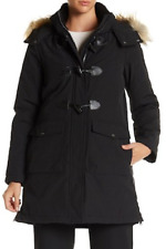 NWT DKNY Faux Fur Hooded Toggle Parka Water Repellant Coat in Black  XS $250