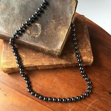 Vintage Hematite Pearl Bead Necklace with Filigree Clasp, 23""
