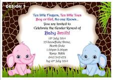 1 x GENDER REVEAL BABY SHOWER PERSONALISED UNISEX PARTY INVITATIONS + MAGNETS