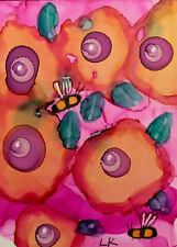 "ACEO original flowers bumblebees painting by Lynne Kohler 2.5x3.5"""
