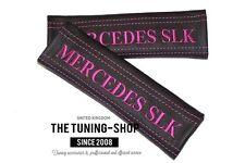 """2x pastillas de cubiertas de cinturón de seguridad de cuero """"Mercedes SLK"""" Bordado Rosa Para Mercedes"""