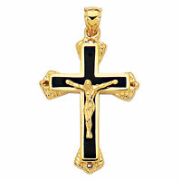 14K Yellow Gold And Black Enamel Crucifix Cross Mens Pendant (25 x 40 mm