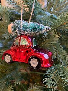 Pottery Barn Mercury Beetle Car With Tree Christmas Ornament New