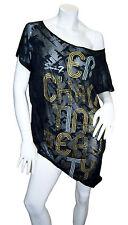 SEVEN $49 Short Sleeve Mesh Black T-Shirt Overlay Top Tunic Large XL 14/16 NWT