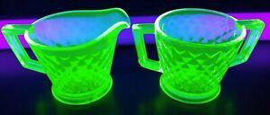 Imperial DIAMOND QUILTED Flat Depression Vaseline Green Glass CREAMER SUGAR Set