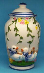 """Duck Vase Urn Floral Ceramic 7.5"""" Tall Vines Lid Blue Trim Jar"""