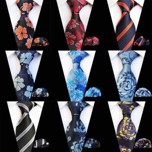 Men's Floral Striped Pocket Square Wide Tie Business Neckties Handkerchief Set
