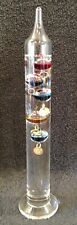 """Galileo Thermometer - 11"""" Tall - Glass Tube - w/ Floating Spheres"""