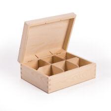 Teebox 6 Fächer Teekasten, Kiefernholz unbehandelt Decoupage