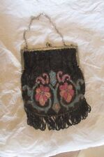VINTAGE 1900 ERA MICRO BEADED GLORIOUS FLORAL BEADED PURSE WITH FRINGE