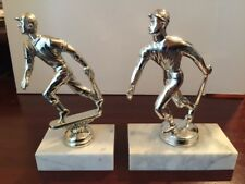 "Male Baseball Trophy Figure - 5"" Tall - Silver - Running with Bat"
