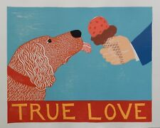 "STEPHEN HUNECK  - WOODCUT - ""TRUE LOVE"" -  DOG LICKING ICE CREAM - FOLK ART 1996"