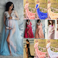 Pregnant Maternity Women's Lace Maxi Long Dress Photography Props Photo Shoot