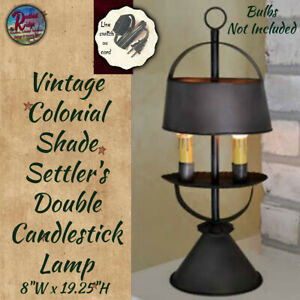 Vintage Colonial Reproduction Shaded Double Candlestick Electric SETTLER'S LAMP