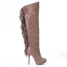 Fringe Suede Pull-On Slender Heel Hidden Platform Over-The-Knee Boots Taupe 5.5