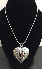 "Ladies Silver Heart Pendant Necklace 18"" Chain Locket Costume Jewellery UK"