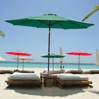 9FT 6 Ribs Patio Umbrella Aluminum Market Steel Tilt W/ Crank Outdoor Yard Beach