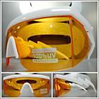 CLASSIC VINTAGE 90s RETRO SPORTY WRAP Style SUN GLASSES White Frame Orange Lens