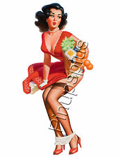 Retro Rockabilly Pinup Girl Water slide Decal for Guitars & More S795
