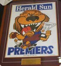 2002 BRISBANE LIONS  UNSIGNED WEG PREMIERS POSTER FRAMED WITH ENGRAVED PLAQUE