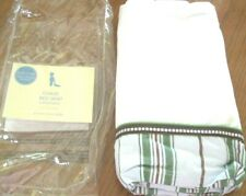 Pottery Barn Kids Chase Crib BedSkirt Blue Green Brown White Cotton Nursery Baby