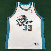 VTG 90S Grant Hill #33 Detroit Pistons Champion Jersey NBA White USA 52 XXL