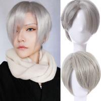Yuri!!! on Ice Viktor Nikiforov Gray Short Wig Straight Cosplay Wig Hair Wigs