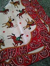 Vtg new COWBOY ROPING HORSES MULTI RED PAISLEY BOARDER WESTERN BANDANA HANKY