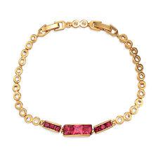 Womens Ruby Cubic Zirconia 8inch Chain Bracelet Girls Free Shipping