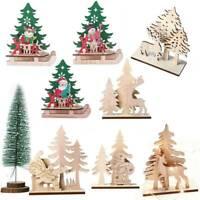 Christmas Wooden Pendant Elk Santa Claus Xmas Ornament Table Decoration Supplies