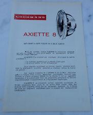 ancienne publicite Brochure haut parleur goodmans axiette 8
