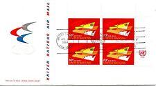 UN FDC NY #C14 Air Mail Inscription Block (5087)