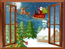 "Cartoon Santa Claus and Reindeers Flying over The Snow - Wall Mural - 24""x32"""