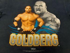VTG 90s TULTEX 1998 WCW Bill GOLDBURG Wrestling Tee T Shirt Navy Blue Large L