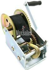 Nylon Strap 2 GEAR Hand Winch 2500LBS Hand Crank Heavy Duty ATV Trailer Boat