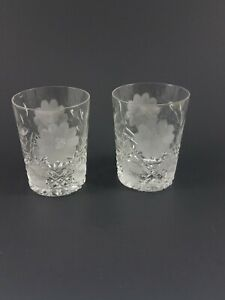 Set of 2 ABP Cut Glass Etched Daisy Crystal Tumbler Cups American Brilliant VTG