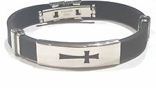 Modyle Black Stainless steel cross charm on black silicone 8 inch bracelet