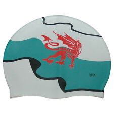 CHEX 100% Silicone Welsh Wales Red Dragon Flag Design Swimming Swim Cap White