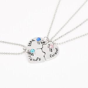 "3PCS Alloy ""Best Friends Forever"" Heart Pendant Necklaces For Kids Necklace New#"