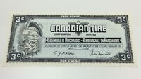1974 Canadian Tire 3 Three Cents CTC-S4-A-AN Uncirculated Money Banknote D188